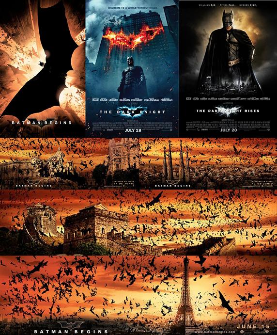 Carteles de la Trilogía de C. Nolan y Publicidad Transmedia que incluye los landmarks, monumentos, de las ciudades donde se iba estrenando Batman Begins. Propiedad de Warner Bros Inc.